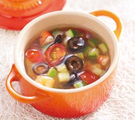 カラフル野菜とエビのジュレ