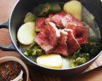 ごろごろ野菜と牛肉の蒸し煮 ピーナッツ味噌添え