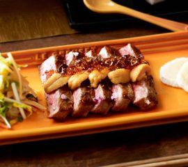 牛肉とウニのポン酢ジュレのせ