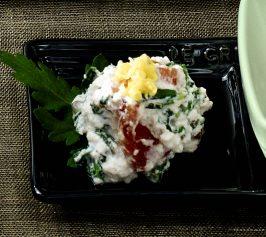 春菊と柿の白和えの作り方