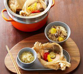キャベツスープと鮭の紙包み蒸し、きのこ栗ご飯の作り方