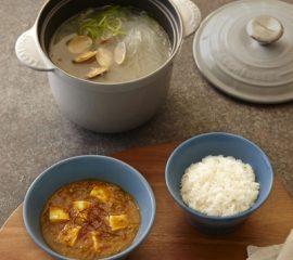 麻婆カレー・あさりと春雨のスープ