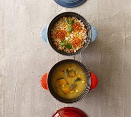 スモークサーモンのはらこ飯風・かぼちゃのバター味噌スープ