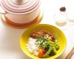発酵スパイスキーマカレー、塩麹ご飯・野菜の塩麹マリネ