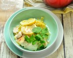 キャベツと鶏のレモン塩麹蒸し~アジアンヨーグルトソース